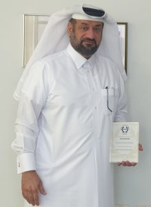 RGPC CEO Mr. Abdul Majeed Al-Reyahi holding the RoSPA award- 2020